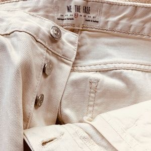 Free People Cream button fly Ankle Jeans R…